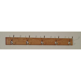 "36"" Coat Rack with 5 Nickel Hooks - Light Oak"