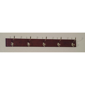 "36"" Coat Rack with 5 Nickel Hooks - Mahogany"