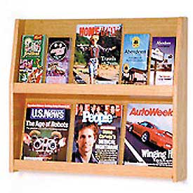 6 Magazine/12 Brochure Wall Display - Light Oak