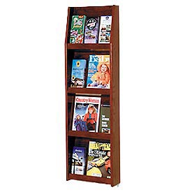 4 Magazine/12 Brochure Wall Display - Mahogany