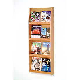 8 Magazine/16 Brochure Wall Display - Light Oak