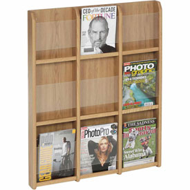 9 Magazine/18 Brochure Oak & Acrylic Wall Display - Light Oak