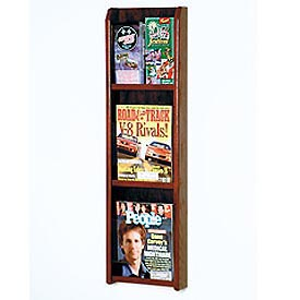 3 Magazine/6 Brochure Oak & Acrylic Wall Display - Mahogany