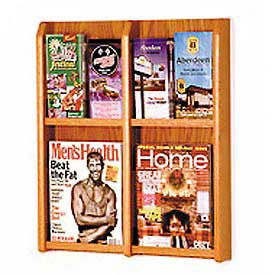 4 Magazine/8 Brochure Oak & Acrylic Wall Display - Medium Oak