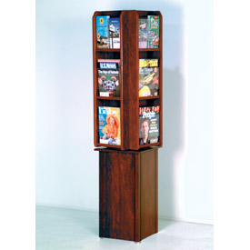 Free Standing 12 Pocket Rotary Literature Display - Mahogany