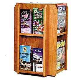 Countertop 8 Pocket Rotary Literature Display - Medium Oak