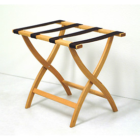 Luggage Rack w/ Convex Legs - Light Oak/Black