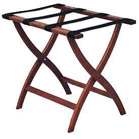 Luggage Rack w/ Convex Legs - Mahogany/Brown