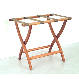 Luggage Rack w/ Convex Legs - Medium Oak/Tan