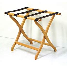Luggage Rack w/ Concave Legs - Light Oak/Tan