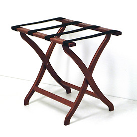 Luggage Rack w/ Concave Legs - Mahogany/Black