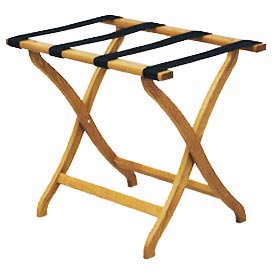 Luggage Rack w/ Concave Legs - Medium Oak/Brown