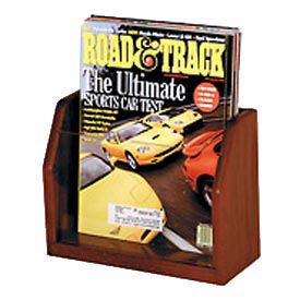 Countertop Single Pocket Magazine Display - Mahogany