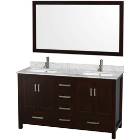 "Wyndham Hatton Double Bathroom Vanity-Espresso, 60""L, White Mrbl Top, Square Sink, 58""Mirror"