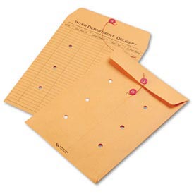 Interoffice Envelopes, Kraft String-Tie, Printed One Side, 10 x 15, 100/Ctn